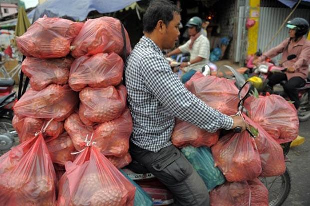 Em 16 de março de 2011, um homem foi flagrado andando com uma moto superlotado de sacos com abacaxis em um mercado em Phnom Penh, no Camboja. (Foto: Tang Chhin Sothy/AFP)