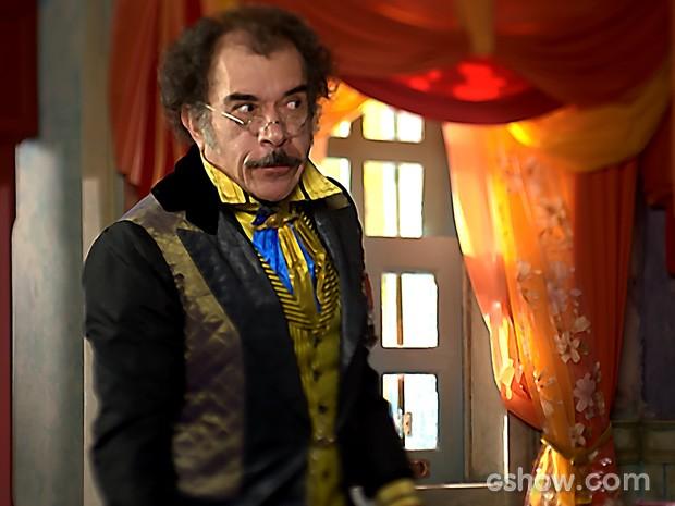 Ricardo Blat é o Prefeito das Antas e usa aplique para o personagem (Foto: Meu Pedacinho de Chão/TV Globo)
