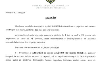 Rio Negro quita dívida com arbitragem e fica livre para jogo da semi, na Arena
