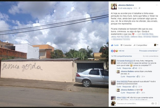 Postagem já tem mais de 140 mil curtidas e 14 mil compartilhamentos, Poços de Caldas (Foto: Reprodução / Facebook / Jéssica Balbino)