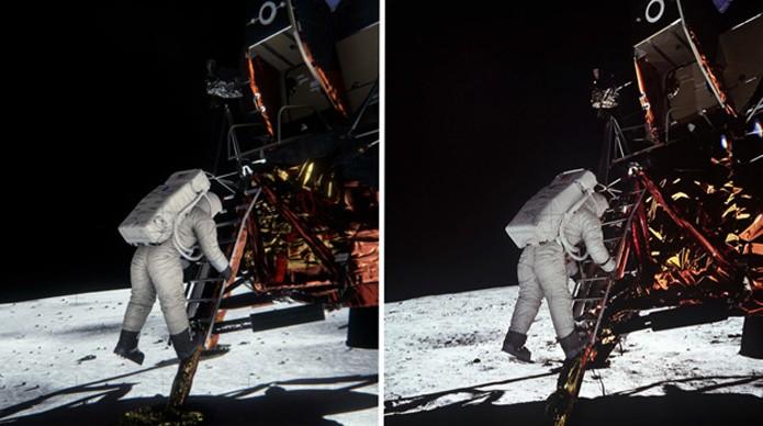 Modelo em 3D (dir.) confimra que iluminação da foto de Buzz Aldrin (dir.) veio apenas do sol (foto: Reprodução/Geek.com)