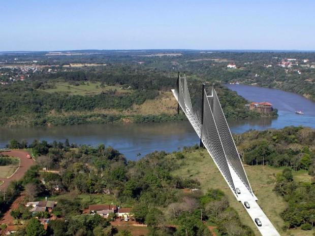 Projeção mostra local onde será construída a segunda ponte sobre o Rio Paraná entre o Brasil e o Paraguai (Foto: Dnit / Divulgação)