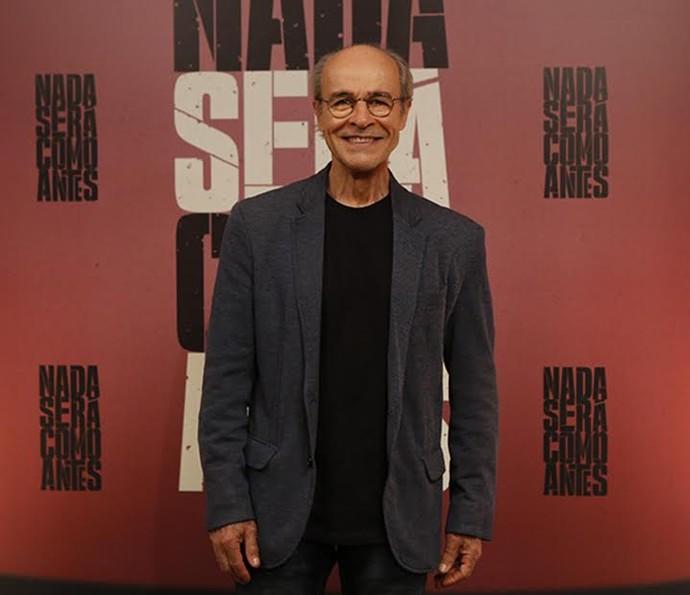 Osmar Prado na coletiva de imprensa de 'Nada Será Como Antes' (Foto: Ellen Soares/Gshow)