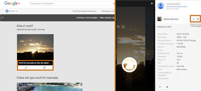 Usuários do Google+ podem aprovar a marcação em fotos na rede social (Foto: Reprodução/Barbara Mannara)