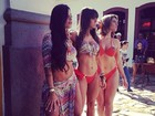 Aline Riscado, Carol Dias e Babi Rossi exibem boa forma de biquíni