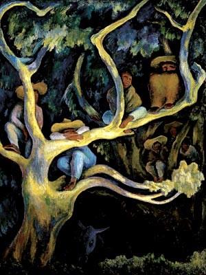 Quadro Paisaje nocturno, do artista mexicano Diego Rivera; obra está em cartaz na mostra Horizontes da arte na América latina e Caribe, em cartaz no CCBB do DF (Foto: Colección Instituto de Bellas Artes do México)