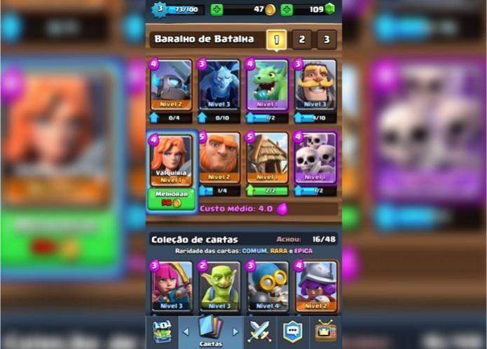 Clash Royale: evolua suas cartas para ter tropas e construções mais fortes (Foto: Reprodução/Paulo Vasconcellos)
