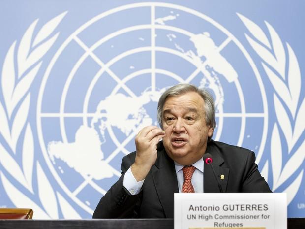 Antonio Guterres, em 2015, como alto comissário para refugiados da ONU (Foto: Salvatore Di Nolfi/Keystone via AP)