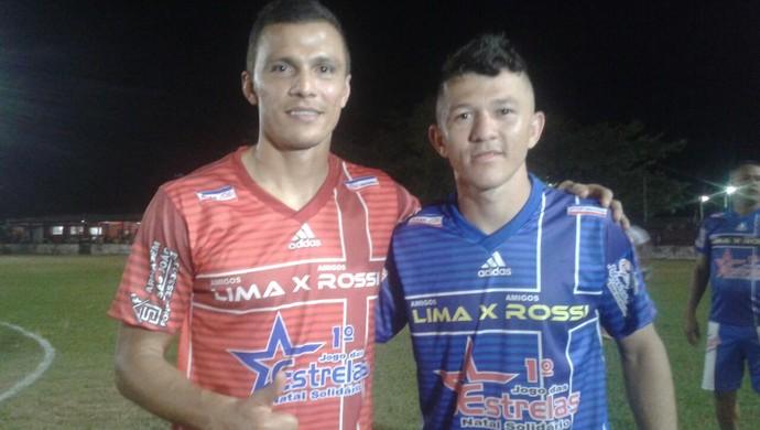 Lima e Rossi, atacantes do Benfica e Ponte Preta em Monte Alegre (Foto: Josiane Freitas/TV Tapajós)