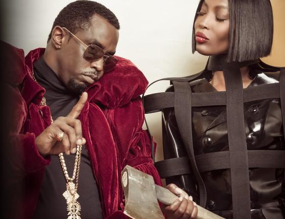 O rapper Sean John Combs, mais conhecido como Diddy, e a top Naomi Campbell são algumas das estrelas do calendário  (Foto: Jaha Dukureh)
