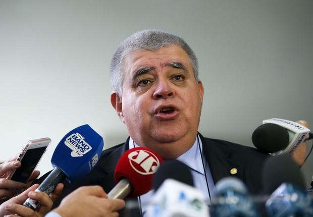 O presidente da Comissão Especial da Reforma da Previdência Social, deputado Carlos Marun, durante entrevista na Câmara dos Deputados (Foto: Marcelo Camargo/Agência Brasil)