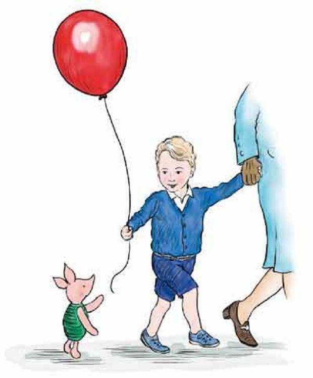 Leitão entrega um balão a príncipe George (Foto: Reprodução Disney)