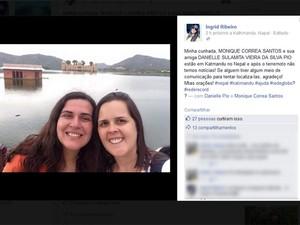 Danielle (à esquerda) e Monique estão desaparecidas desde a manhã deste sábado (25). (Foto: Reprodução/ Facebook)