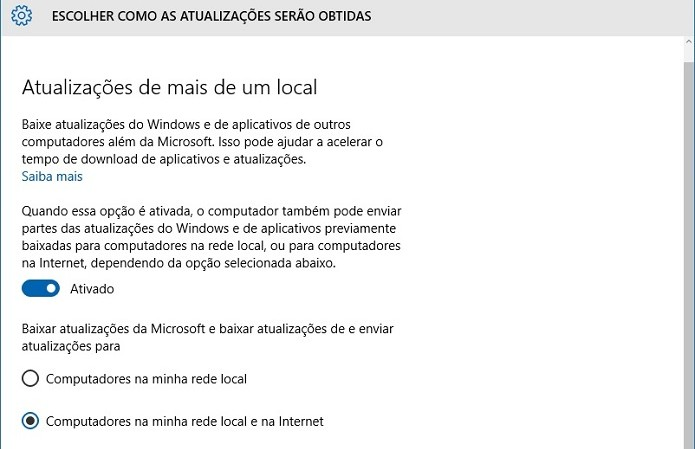 Receba as atualização para o Windows 10 de outras fontes (Foto: Felipe Alencar/TechTudo) (Foto: Receba as atualização para o Windows 10 de outras fontes (Foto: Felipe Alencar/TechTudo))