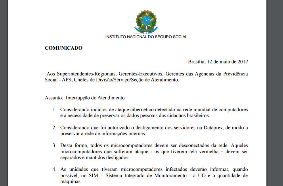 Em comunicado, INSS orienta desconexão de computadores por risco de invasão (Foto: Reprodução)