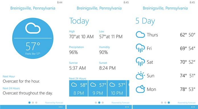 Blue Skies é um aplicativo de previsão do tempo para Windows Phone com diversos dados (Foto: Divulgação/Windows Phone Store)