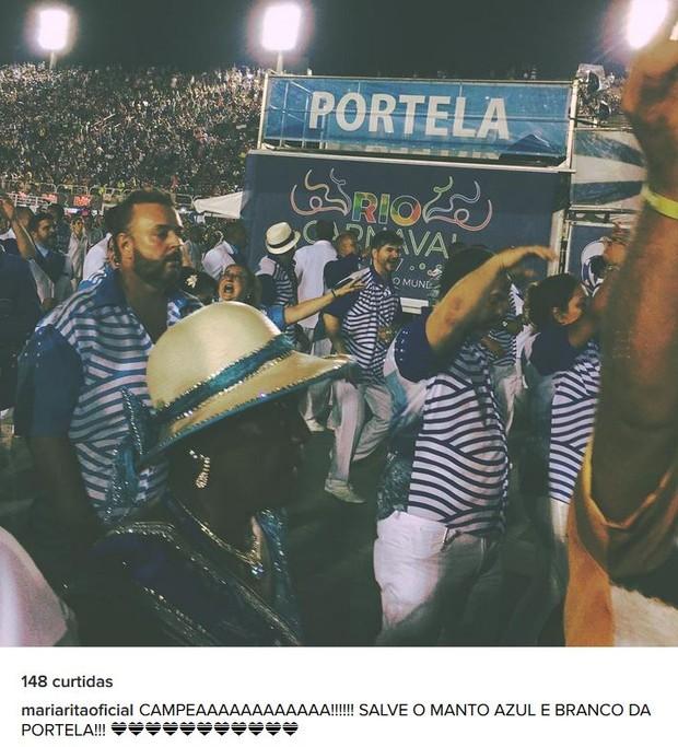 Maria Rita comemorando vitória da Portela no carnaval 2017 (Foto: Instagram / Reprodução)