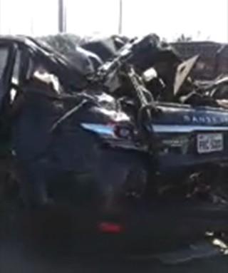 Carro de Cristiano Araújo após acidente (Foto: Reprodução)