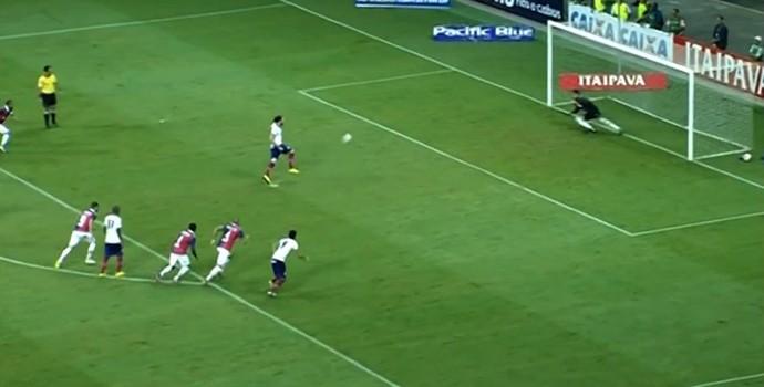 Léo Gamalho perde pênalti Bahia (Foto: Reprodução SporTV)