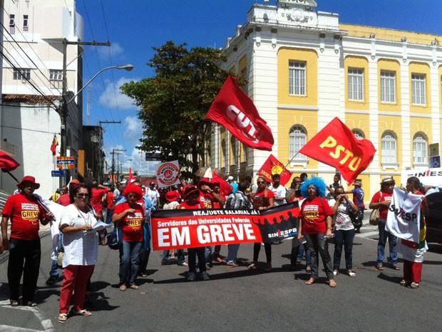 Professores federais fizeram ato público para reivindicar agilidade nas negociações com a presidente Dilma Rousseff (Foto: Divulgação/Sintesp-PB)