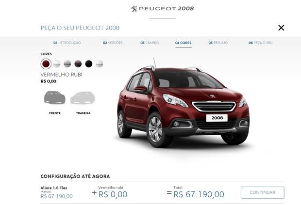Opções de cores para o Peugeot 2008 (Foto: Reprodução)