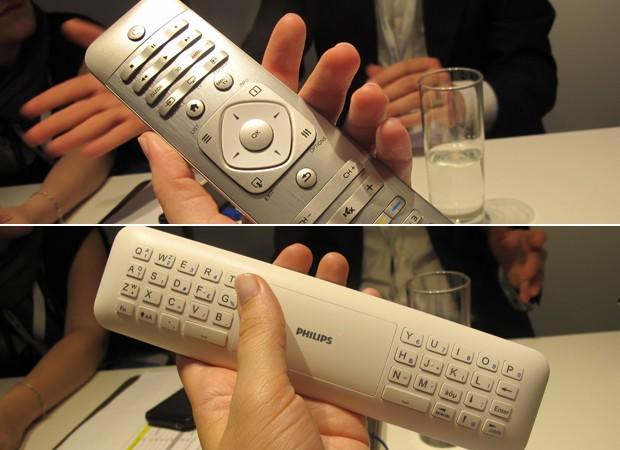 Frente e verso do novo controle das TVs da Philips (Foto: Amanda Demetrio/G1)