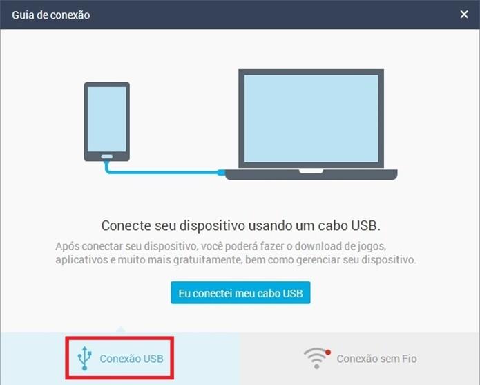 Destaque para botão Conexão USB (Foto: Reprodução/ Raquel Freire)