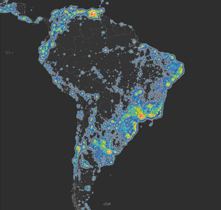 A poluição luminosa em parte da América do Sul (Foto: Fábio Falchi)