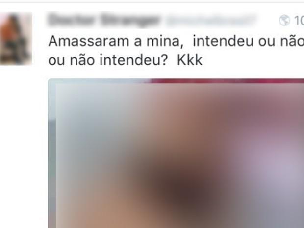 Jovem postou foto da vítima e ironizou o suposto estupro (Foto: Reprodução)