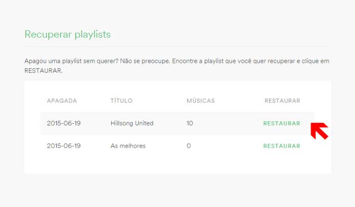 Recuperando a playlist deletada (Foto: Reprodução/Lívia Dâmaso)
