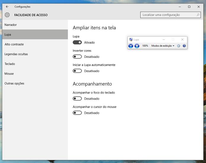 Lupa ajuda a aumentar tamanho de conteúdo na tela (Foto: Reprodução/Thiago Barros)