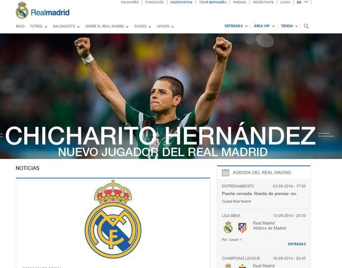 Chicharito Hernandez jogador do Real Madrid (Foto: Reprodução / Site Oficial do Real Madrid)