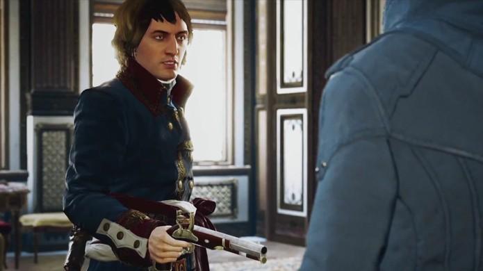 Arno se encontra com uma versão jovem de Napoleão Bonaparte (Foto: Reprodução: YouTube)