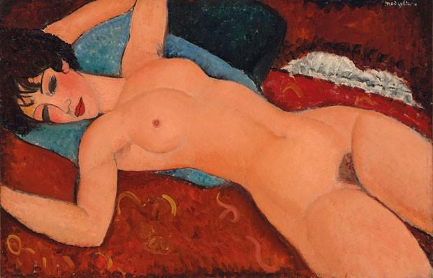 A tela 'Nu couché', de Amedeo Modigliani, considerada uma das obras maiores do mestre, foi vendida na noite desta segunda-feira (9), em um leilão em Nova York, por US$ 170,4 milhões, um recorde para o pintor italiano (Foto: Courtesy of Christie's Images via AP)