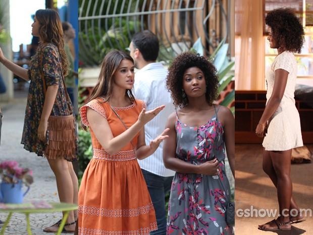 Vestidos para todos os gostos nas produções de Luiza e Alice (Foto: Em Familia/TVGlobo)