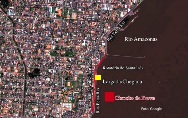 Percurso da Corridas Ciclísticas Antônio Assmar (Foto: Divulgação/Rede Amazônica)