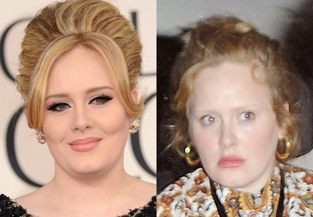 Adele com e sem maquiagem (Foto: Getty Images e Grosby Group)