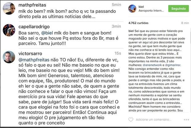 Biel comenta acusação de assédio a repórter (Foto: reprodução/instagram)