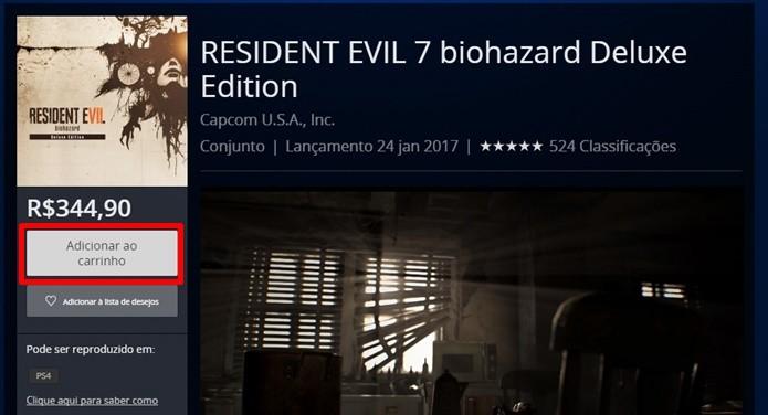 Resident Evil 7 pode ser baixado diretamente pela PlayStation Network (Foto: Reprodução/Felipe Demartini)