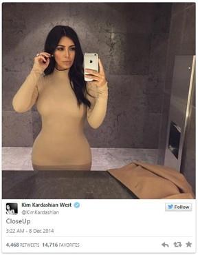 Kim Kardashian aparece na lista dos famosos do Twitter em 2014 (Foto: Twitter/Reprodução)