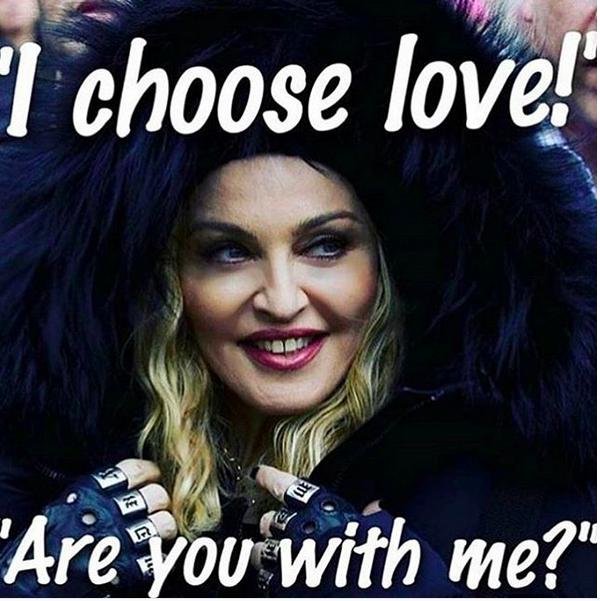 """""""Eu escolho amor!"""": a mensagem compartilhada por Madonna (Foto: Instagram)"""