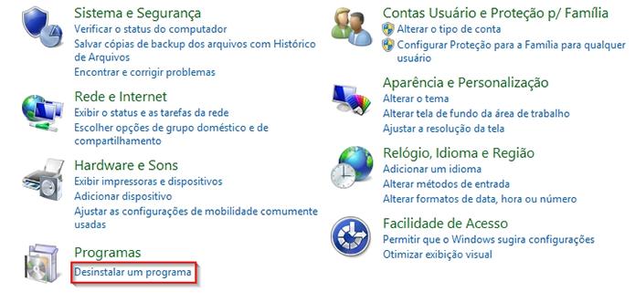 Vá até o menu de desinstalação do Painel de Controle (Foto: Reprodução/Paulo Alves)