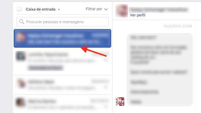 Ação para selecionar uma mensagem que deseja responder em uma página do Facebook (Foto: Reprodução/Marvin Costa)