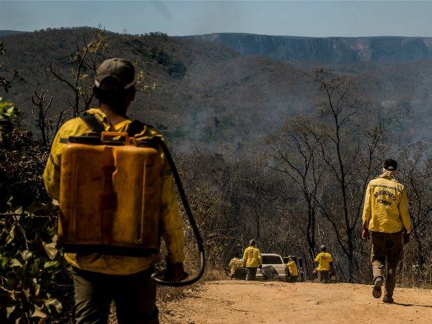 Brigadistas e bombeiros tentam evitar que fogo se alastre no Parque Nacional de Chapada dos Guimarães e chamas atinjam áreas críticas. (Foto: Mayke Toscano / GCom-MT)