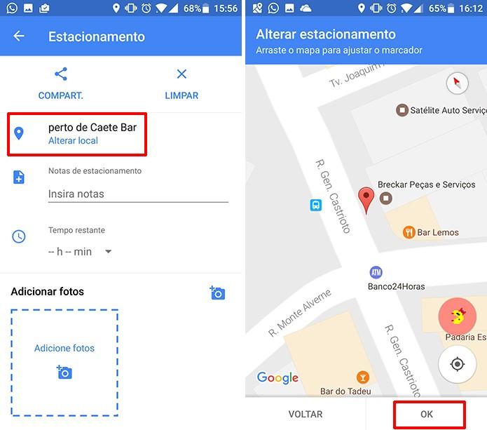 Usuário pode corrigir o local de estacionamento no Google Maps (Foto: Reprodução/Elson de Souza)