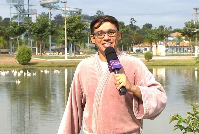 Marcão foi preparado para conhecer de perto os benefícios das águas de Ibirá (Foto: Reprodução/TVTEM)