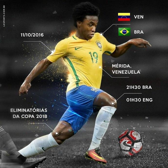 """BLOG: Willian posta foto com """"serviço"""" do jogo da seleção brasileira contra a Venezuela"""