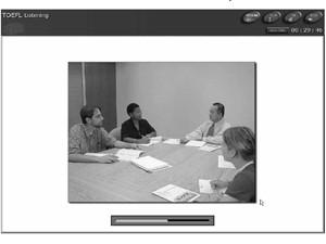 Parte da prova de compreensão auditiva do Toefl, que é feito no computador (Foto: Divulgação/ETS)