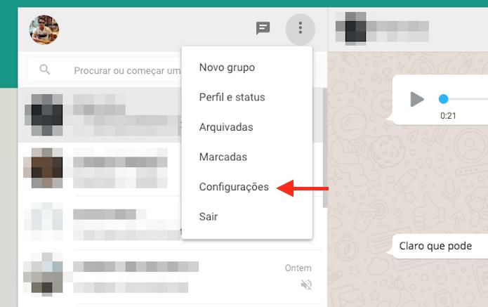 Acessando as configurações do WhatsApp Web (Foto: Reprodução/Marvin Costa)