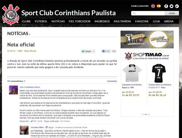 reprodução site oficial corinthians nota oficial sobre o falecimento do torcedor do San Jose-BOL (Foto: Reprodução / Site Oficial do Corinthians)